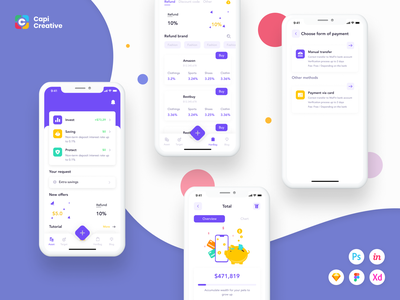 Finance Mobile App UI Kit wallet ui wallet app finance app crypto wallet wallet finance interface ui ux design ux  ui ux ui design kit ui ios figma app mobile creative design ui kit