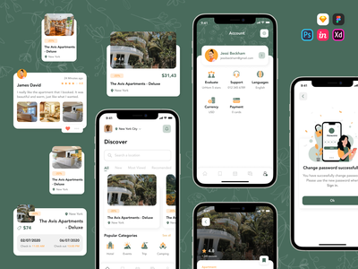 Hotel Booking App UI Kit book bookings mobile mobile app design mobile design mobile app mobile ui application app design booking app booking ux  ui kit ux ui workflow ux ui design ux ui app design ui kit