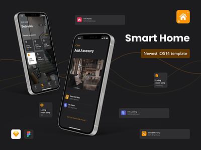 GLORIES - Smart Home App iOS 14 UI Design Template dark mode smarthome ios app design ios14 ui design figma sketch app mobile creative design ui kit