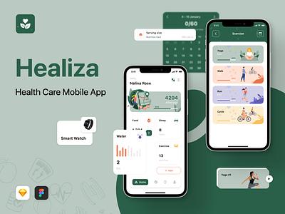 Healiza - Health Care Mobile App healthcare health ui ios figma sketch app mobile creative design ui kit