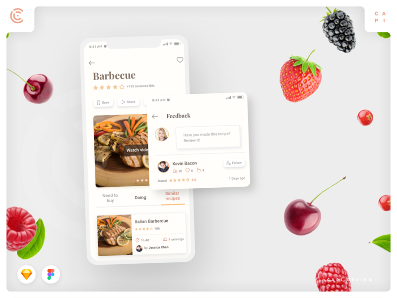 Caco - Cooking Mobile App UI Kit adobexd sketch vector app ui kit mobile design creative capi caco