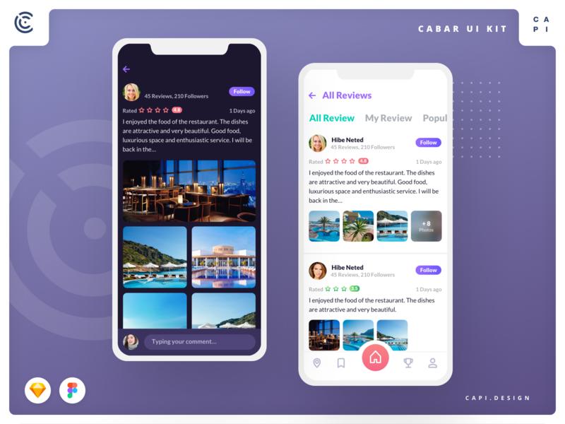 Cabar - Bar & Restaurant Application UI Kit restaurant app ios figma vector sketch ui kit app mobile design creative capi cabar