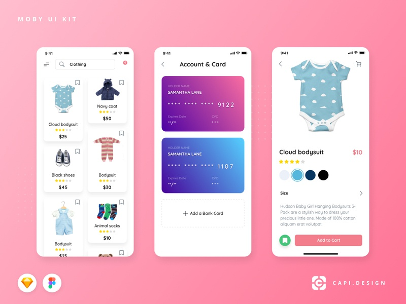 Moby Baby E-commerce Mobile App UI Kit ui ecommerce ios figma vector sketch ui kit app design mobile creative capi baby moby