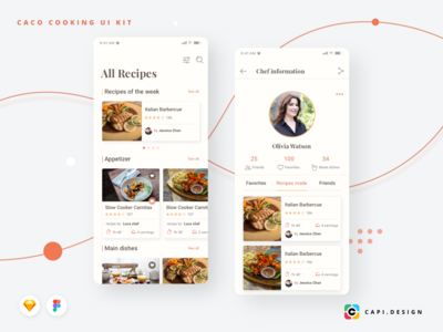 Caco Cooking Mobile App UI Kit
