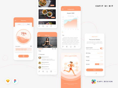 Cafit - Workout Mobile UI Kit Free Download