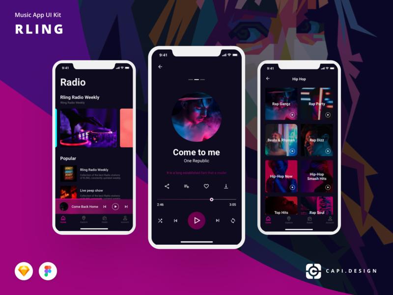 RLING Music App UI Kit Free Download by Capi Creative Design