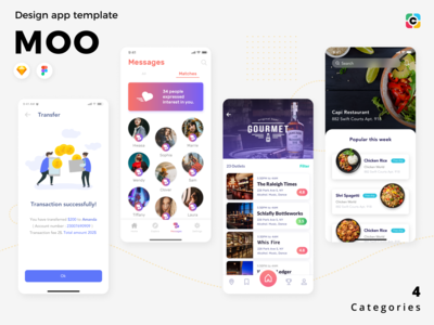 MOO - Banking, Restaurant, Food and Dating App UI Kits