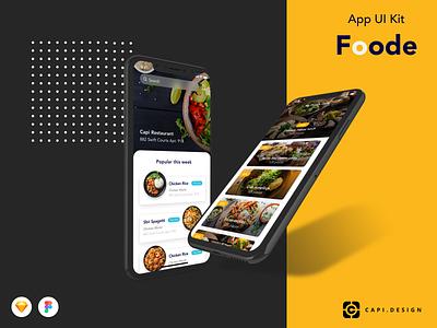 Foode Food App Design UI Kit creative capi mobile app design app design mobile app ui design uiux creative design ui kit