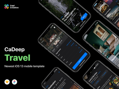CaDeep Travel UI Kit Screens