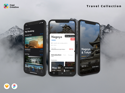 3 Screens from Travel Collection UI Kits app screens creative mobile design mobile app app design uidesign ui kit
