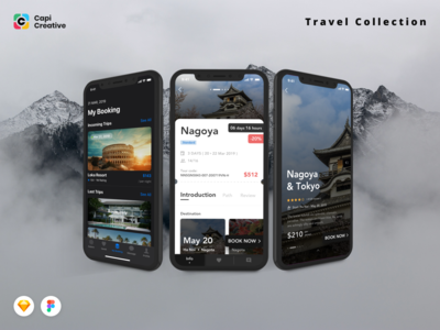 3 Screens from Travel Collection UI Kits