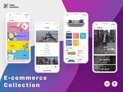 E commerce Collection - Home screens homescreen ecommerce design figma sketch capi app mobile creative ui kit