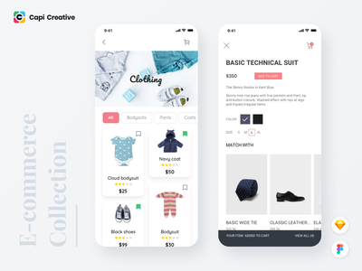 E-commerce Collection App Design UI Kit ui design ecommerce design collection ecommerce app capi mobile creative design ui kit