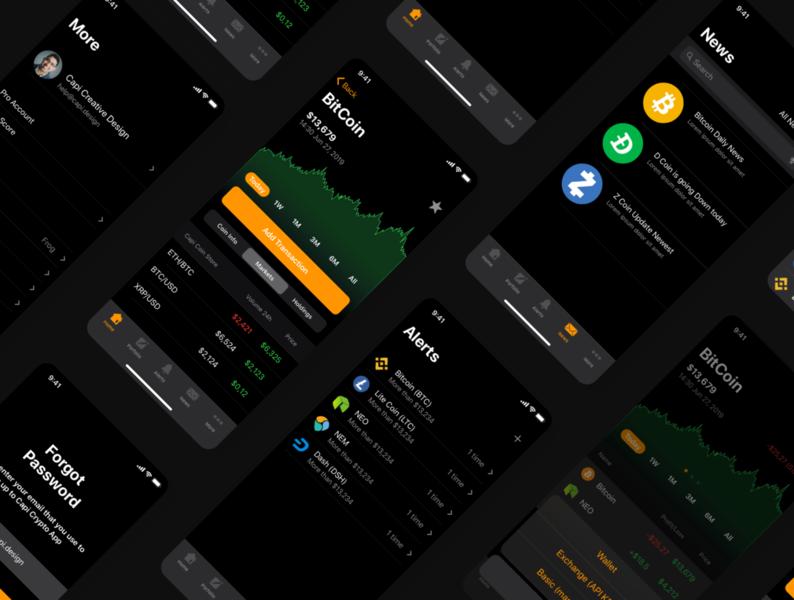 CaDeep - Crypto Screens mobile ios 13 ios app mobile app app design creative top vietnam ui designer ui designer ui ux ui design ui kit