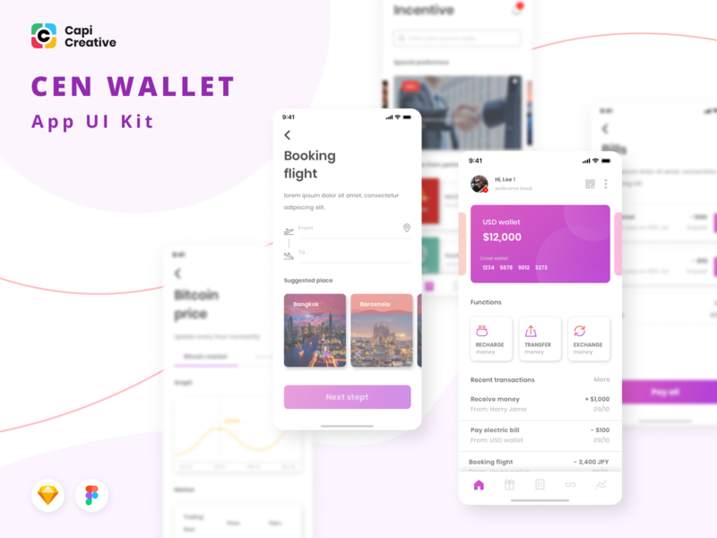 [Updated] Crypto Wallet App Design - Cen Wallet UI Kit ui design vector figma sketch crypto wallet clean app mobile design creative ios app app design ui kit