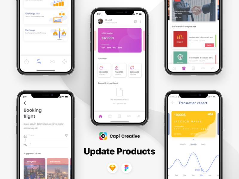 Updated Products: CenWallet and Moobank app design ui design figma vector sketch app mobile creative design ui kit