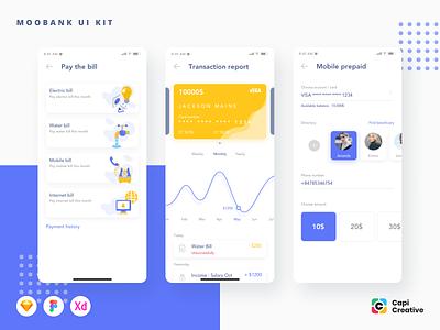 Moobank - Banking App UI Kit capi ui design app design vector sketch ui creative app mobile ui kit
