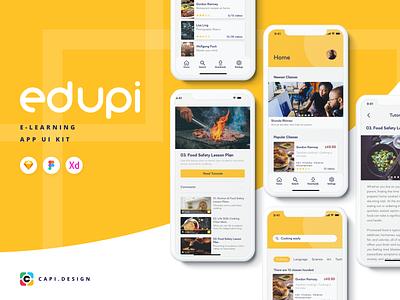 [NEW RELEASE] Edupi E-learning UI Kit app design xd sketch figma vector creative mobile ui mobile app video app e-learning design ui kit