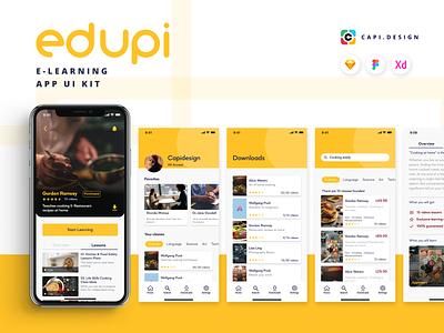 Edupi - E-learning App UI Kit design sketch vector figma ui designer mobile app clean creative uiux ui kit app design ui design