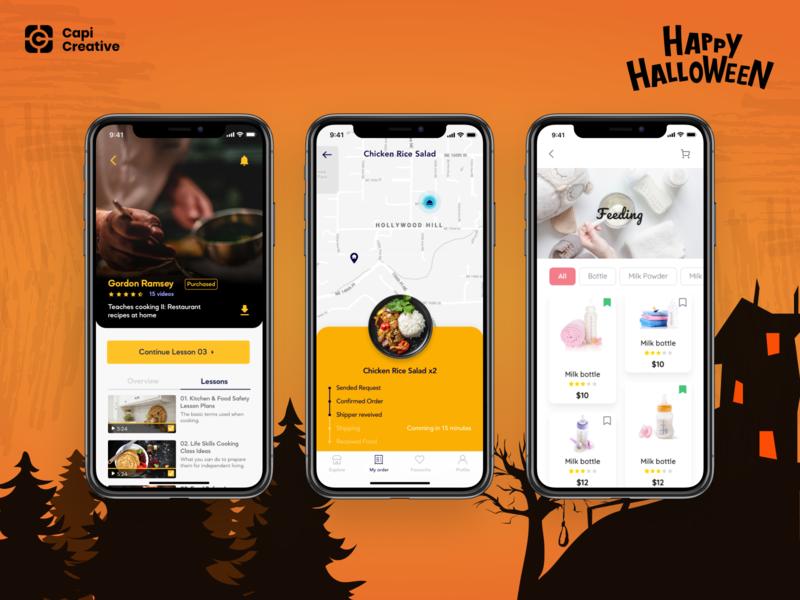 Happy Halloween Dribbblers! halloween app design ui capi figma vector sketch app mobile creative design ui kit