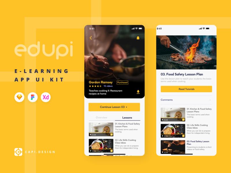 Edupi - UI Kit for E-learning App figma vector sketch capi e-learning branding app mobile creative design ui kit