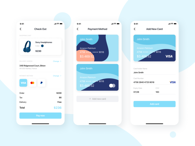 WeeklyUI #02: Payment Credit Card Screens Design banking app bank card bank app banking crypto challenge finance app finance payment mobile design sketch