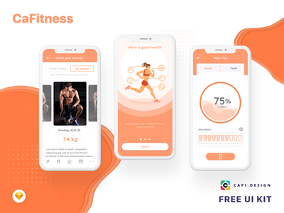 Fitness Mobile App UI Kit Free app mobile creative sketch design free ui kit free design workout workout app ui kit mobile design mobile app fitness app