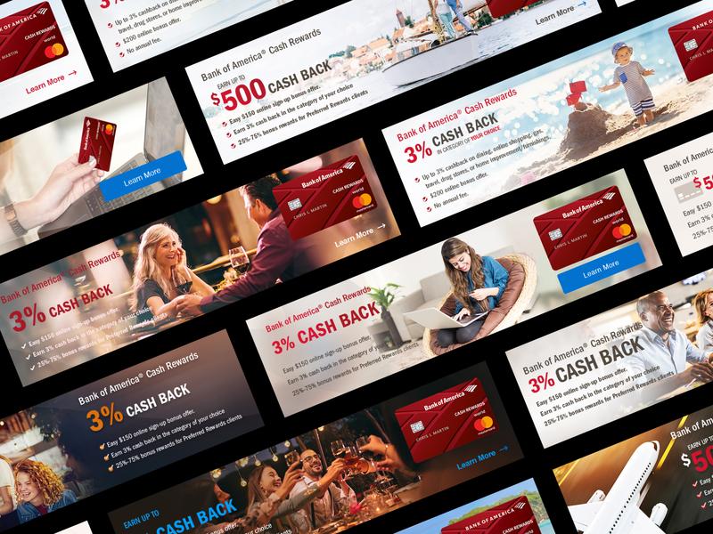 Bank of America® Cash Rewards banking card digital marketing landingpage branding social media marketing banner ads ads clean minimal 2019 webdesigner websites website visualdesign webdesign bank app banner bank