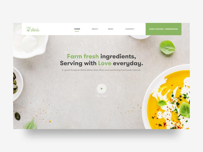 Cafe Atilla - Case Study concept clean flat  design sketch vegetarian food restaurant cafe branding ui design flat visualdesign marketing landingpage designer webdesigner uidesigner webdesign website
