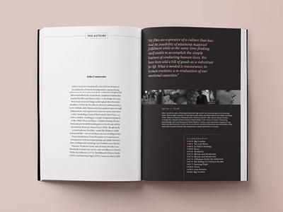 Cinema Guidebook typography spread book design layout publication design