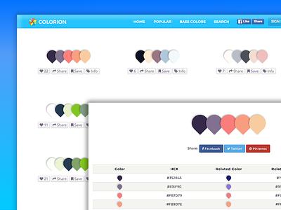 Colorion.co home and detail page color palette web interface design ui ux color application app