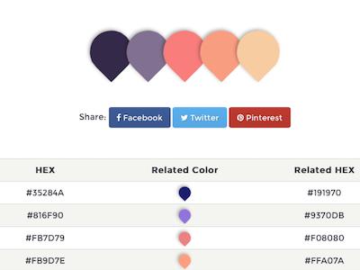 Color palette detail color palette web ux ui interface design color application app