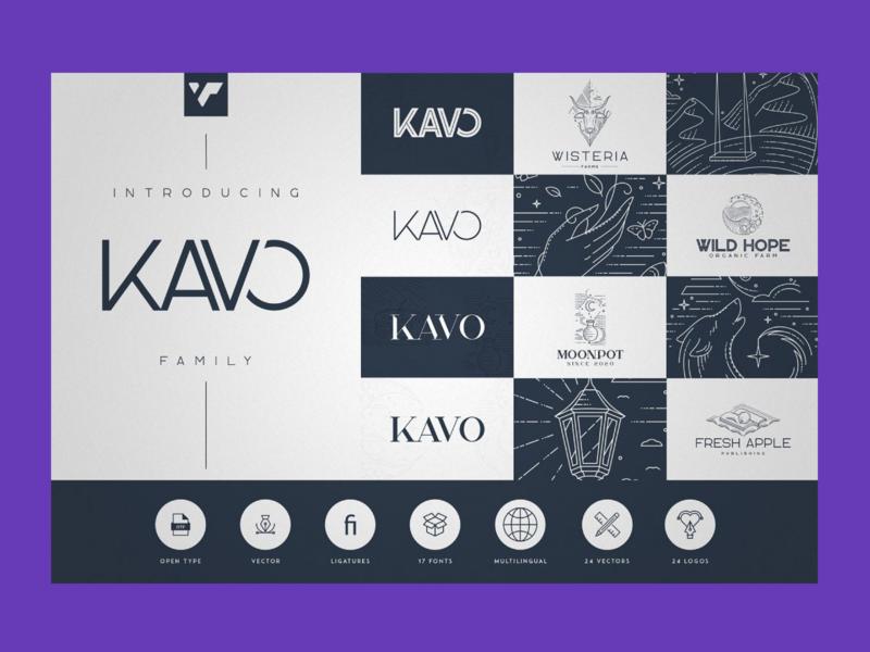 Kavo Family – 17 Modern Regular Fonts + 24 logos modern regular fonts modern regular fonts