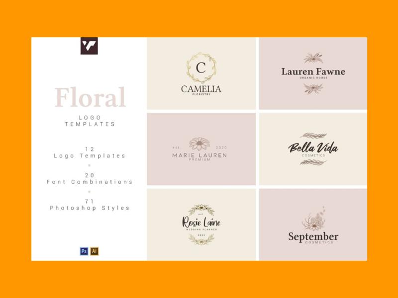 12 Floral Logo Templates – Ai & PS