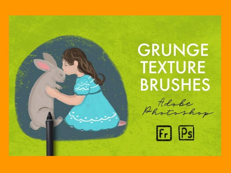 15 Grunge Texture Brushes – Photoshop Add-Ons brushes adobe fresco illustration adobe photoshop illustration 15 chosen texture brushes