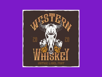Western Whiskey Font & Isolated Illustrations font whiskey