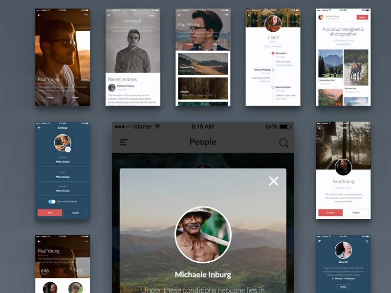 Kama iOS UI Kit, Free Sample app ios interface mockup kit photoshop sketch layers mobile