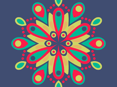 100 days of prints and patterns [69] pattern bright flower floral mandala vector pattern design surface design print graphic digital colorful