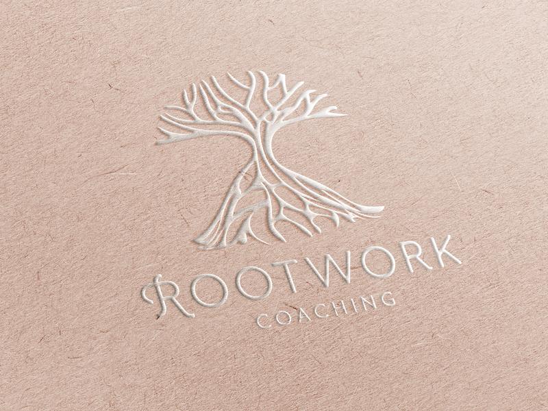 Rootwork Coaching branding identity illustration natural coaching tree logo
