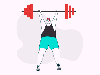 Simon Swole! illustration weightlifting weight strong barbell strength