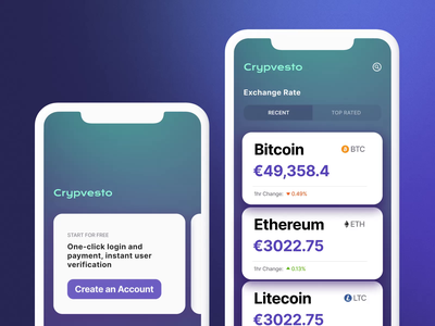 Crypto exchange rate app bitcoin wallet uiux ui cardano litecoin ethereum bitcoin crypto exchange investment app crypto wallet cryptocurrency app crypto app finance fintech trading crypto motion motion graphics animation