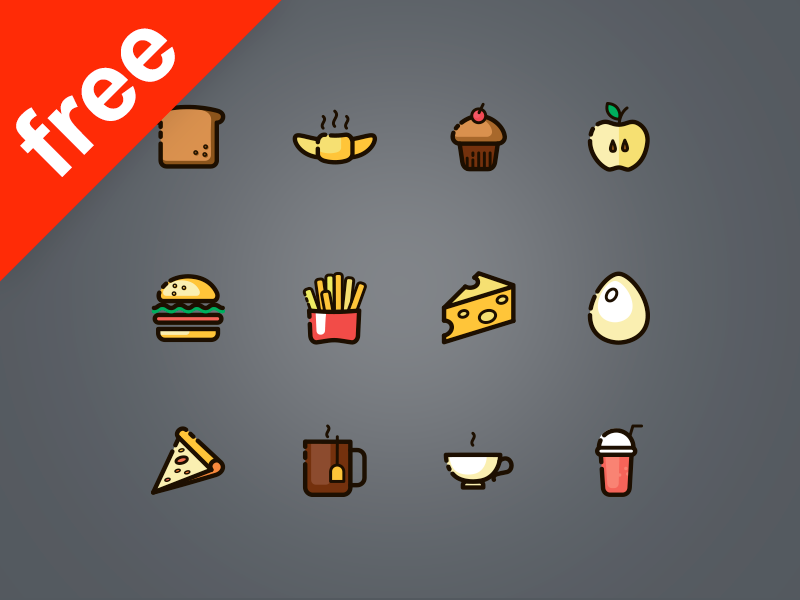 60 line and fills food icons  icons food free