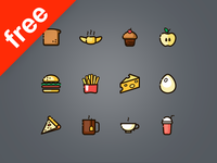 60 line and fills food icons