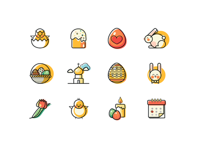 12 lines and fills Easter Icons rabbit line icons holiday filled icons easter egg easter cake church chicken celebrate icon candle bunny basket