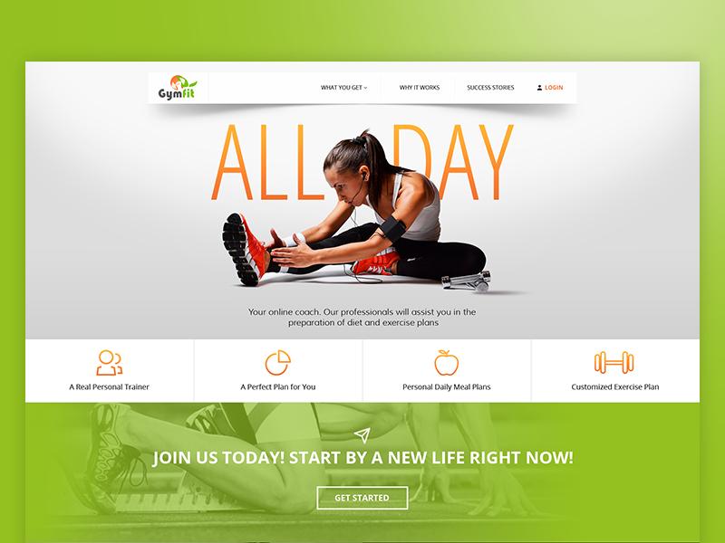 GymFit ux ui clean sport website web