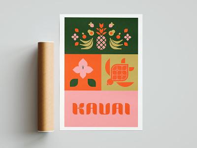 kauai poster typography illustration kauai