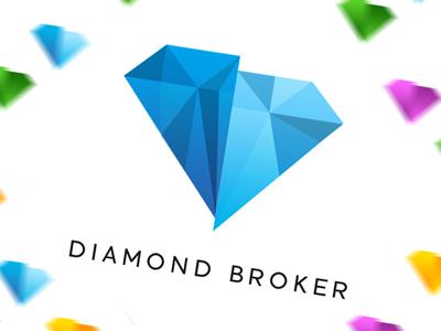 Diamond broker blue diamond logo logotype flat green yellow pink