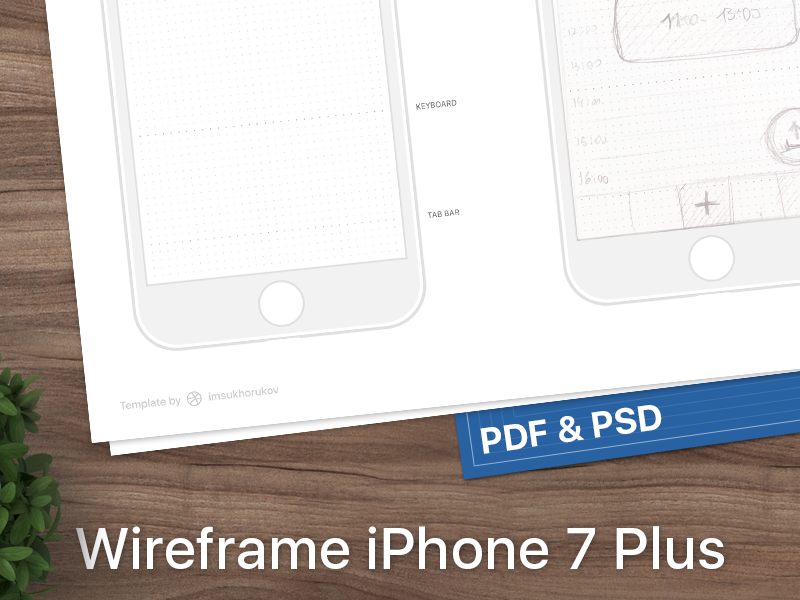 iPhone 7 wireframe wireframes template seven psd plus pdf mobile iphone ios10 ios free 7