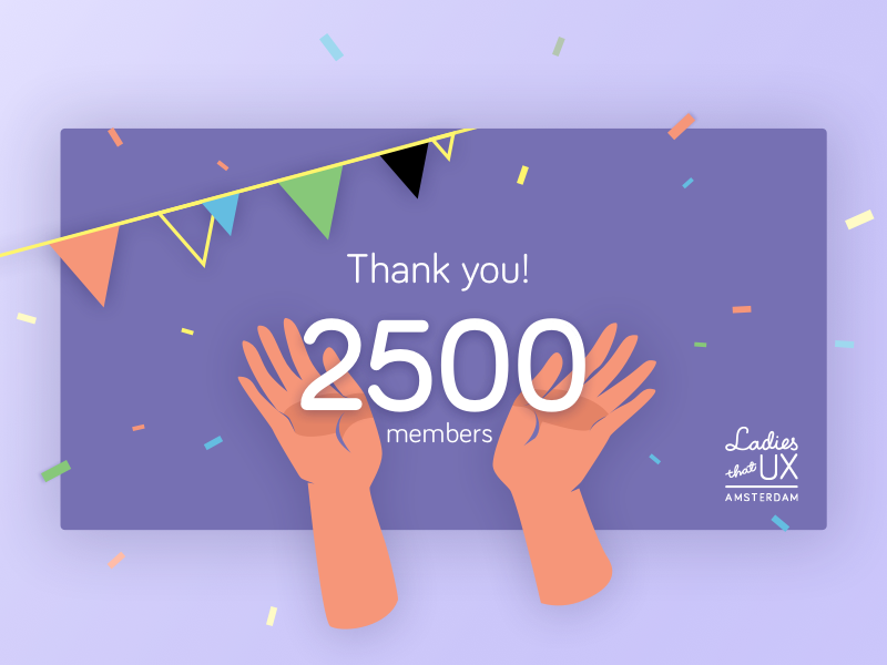2500 Members celebrate illustration purple confetti flag garland thank you card hands vector 2500 ladies that ux amsterdam