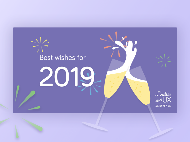 New Year Card ltuxams ltux ladies that ux ladies that ux amsterdam marketing cheers foam fireworks best wishes wishes card design champagne 2019 design typography vector illustration
